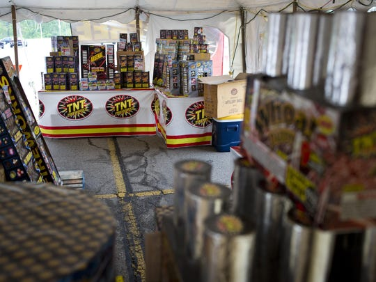 Fireworks are seen for sale in a tent Tuesday at the corner of South Range Road and Gratiot Boulevard in Marysville.