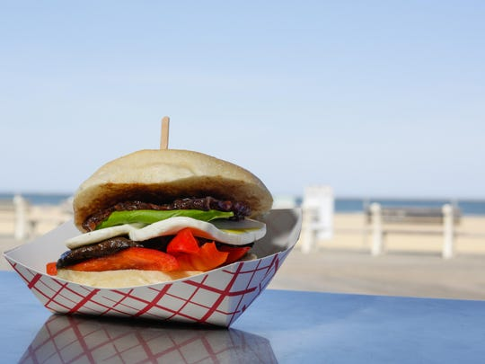 The veggie sandwich from Hoagitos on the Asbury Park boardwalk is stuffed with portobello mushrooms, mushrooms, bell pepper, fresh mozzarella, basil and onion jam.