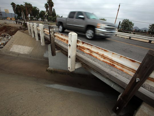 A truck crosses the Stetson Avenue Bridge over the Hemet Channel on Thursday. It's the worst bridge in Riverside County.