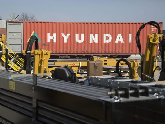 Driling equipment waiting to be packed in shipping containers and exported in Pella, Iowa, Thursday March 12, 2015. The Pella, Iowa, company manufactures environmental, mining and agricultural equipment.