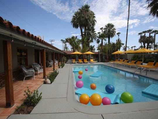 The pool of Colt's Lodge. The hotel is a renovated small hotel in Palm Springs that has taken numerous steps to be environmental.