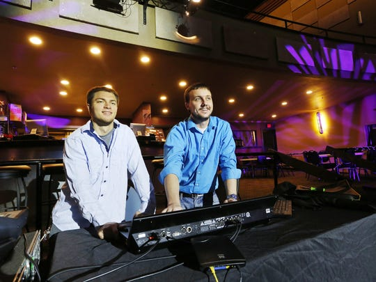 In late January, Jordan Flack, left, and Nate Pientok, co-owners of Main Street Live LLC, took over management at Lafayette Theater.