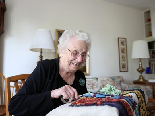 Anne Jeter, 97, is a rug hooker. She has been attending the Oregon State Fair since the 1940s. She will demonstrate rug hooking at the fair Sunday, Aug. 30, in Columbia Hall.