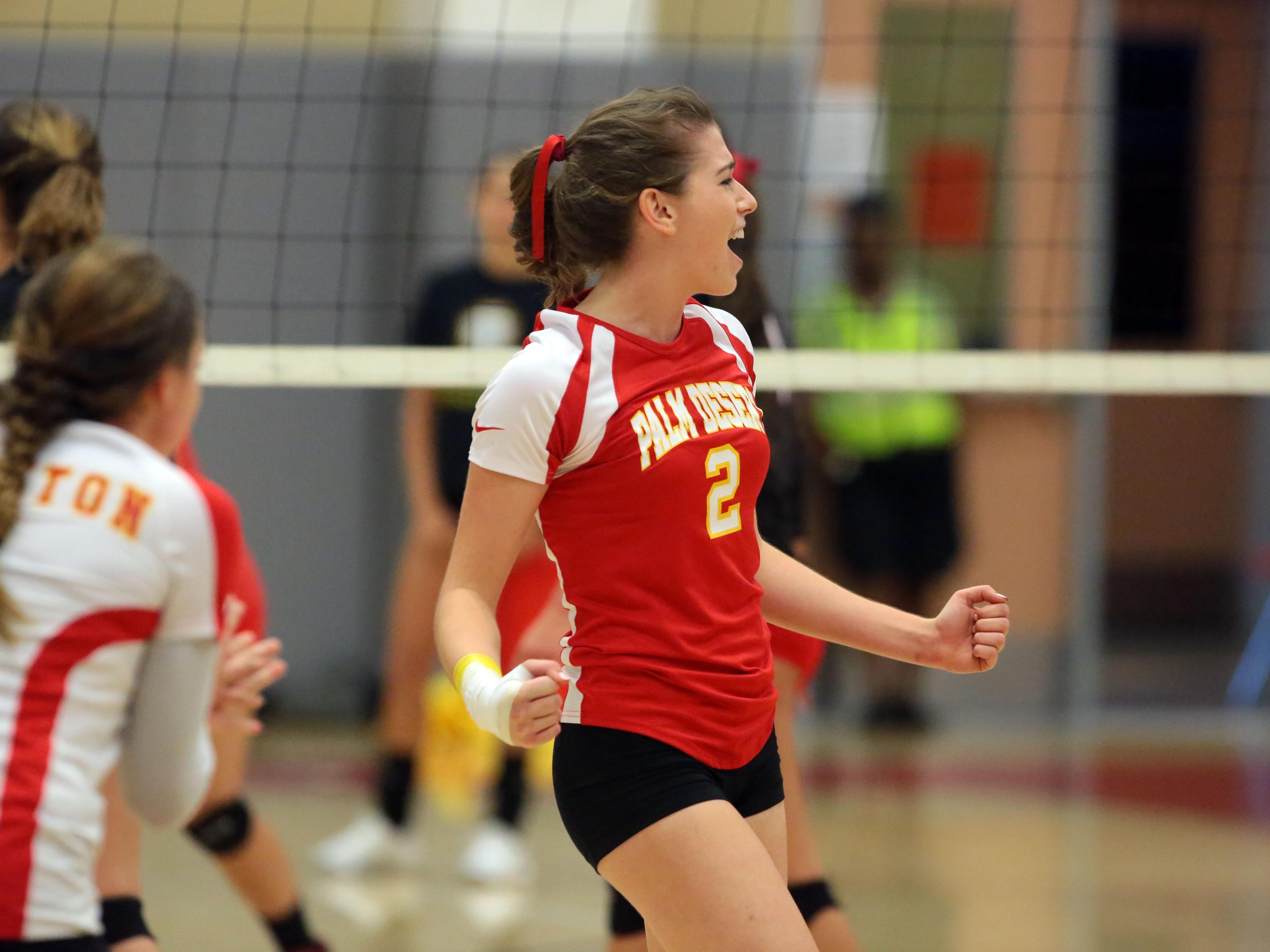 Palm Desert's Seline Schinke reacts to a point won from Palm Springs on Thursday in Palm Desert.