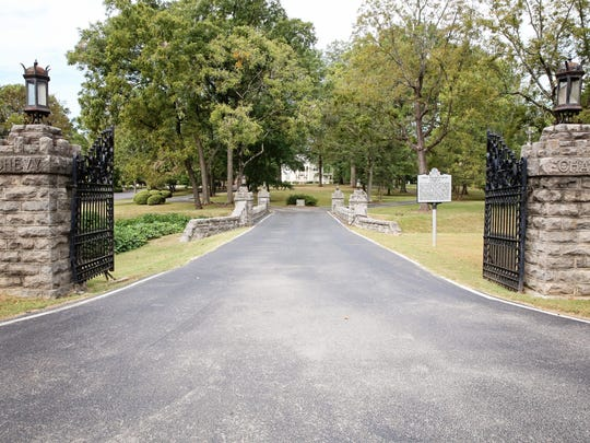 A view of Memorial Hall (Chevy Chase) from the front gates.