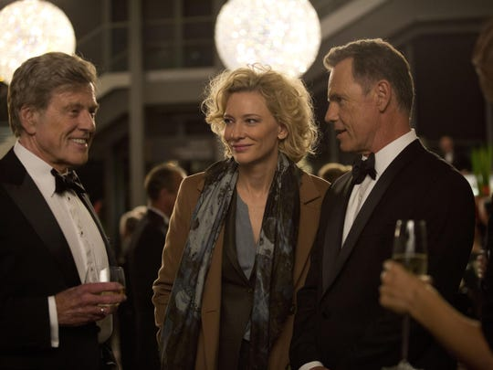 "Robert Redford portrays Dan Rather, from left, Cate Blanchett portrays Mary Mapes and Bruce Greenwood portrays Andrew Heyward in ""Truth."""