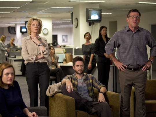 "Elisabeth Moss, from left, Cate Blanchett, Topher Grace and Dennis Quaid appear in a scene from ""Truth."""