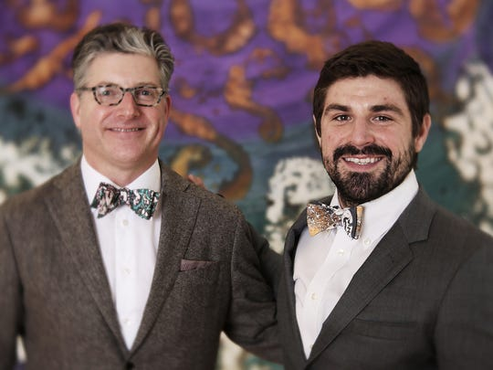 "John Pickens and Jacob Ament model ""Lotus"" and ""Whirl"" bowties from the MYfashion collection by Marlene Yu."