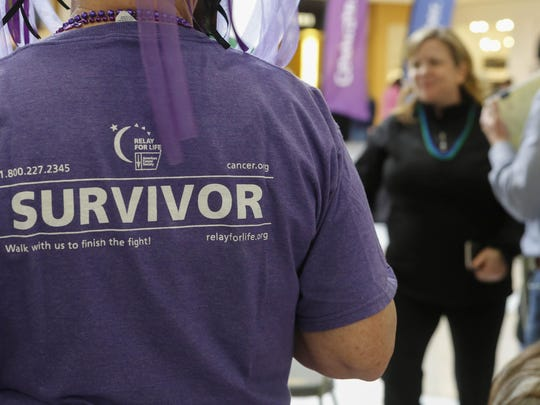 """A woman wears a """"survivor"""" t-shirt during an American Cancer Society Relay For Life of Salinas fundraising event at Nothridge Mall on Saturday, January 30, 2016 in Salinas, Calif. Vernon McKnight/for The Californian"""