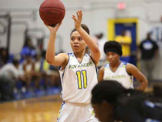 Rickards freshman Laniyah Lee scored a team-high 11 points in a 68-32 loss to No. 1 Jacksonville Ribault on Friday night in a Region 1-5A final.