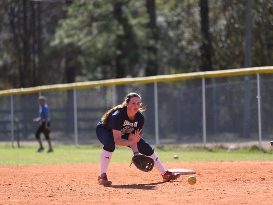 When she's not pitching, Aucilla Christian sophomore Abigail Morgan is playing first base.