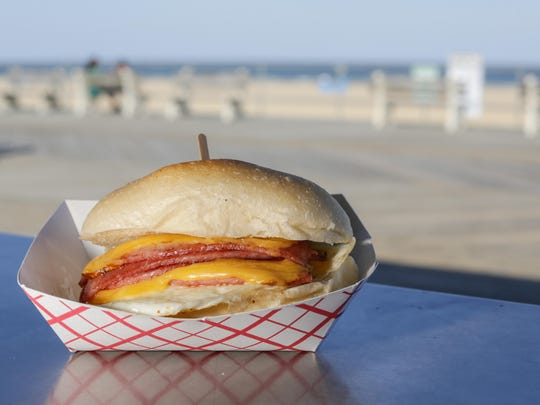 A pork roll, egg and cheese sandwich from Hoagitos on the Asbury Park boardwalk.