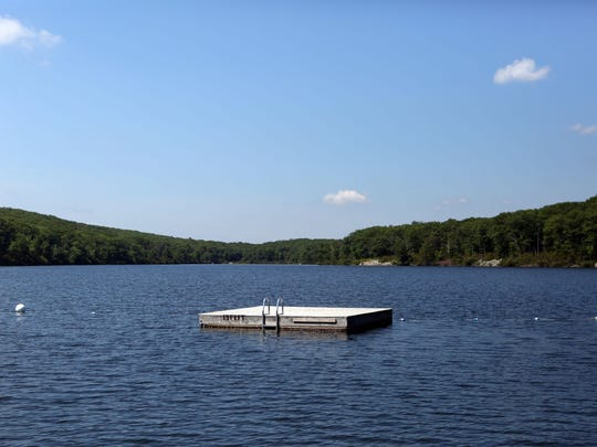 A managed waterfront for swimming is shown at the Harriman Outdoor Center in Harriman State Park.