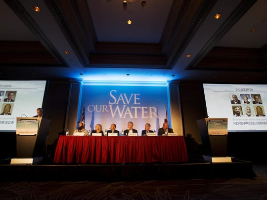 """Panelists on the News-Press Save Our Water Summitt held at the Sanibel Harbour Marrito Resort & Spa on Wednesday speak. From left is Daniel Andrews, Captains for Clean Water, Colleen DePasquale, Fort Myers Chamber of Commerce, John Lai Lee County Hotel Association, Gene McAvoy, Hendry County Extension Director, David Schuldenfrei, Sanibel Island Realtor and Malcom """"Bubba"""" Wade, U.S. Sugar."""