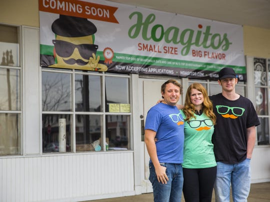Terence McGill (right; pictured with co-owners Mark and Emma Spagnuolo) of Hoagitos in Belmar and Asbury Park has been nominated as a rising star chef in the Garden State Culinary Arts Awards.