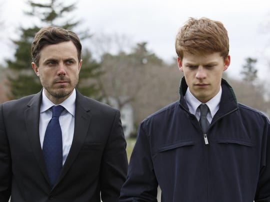 "This image released by Roadside Attractions and Amazon Studios shows Lucas Hedges, right, and Casey Affleck in a scene from ""Manchester By The Sea."" The film was nominated for a Golden Globe award for best motion picture drama on Monday, Dec. 12, 2016. The 74th Golden Globe Awards ceremony will be broadcast on Jan. 8, on NBC. (Claire Folger/Roadside Attractions and Amazon Studios via AP)"