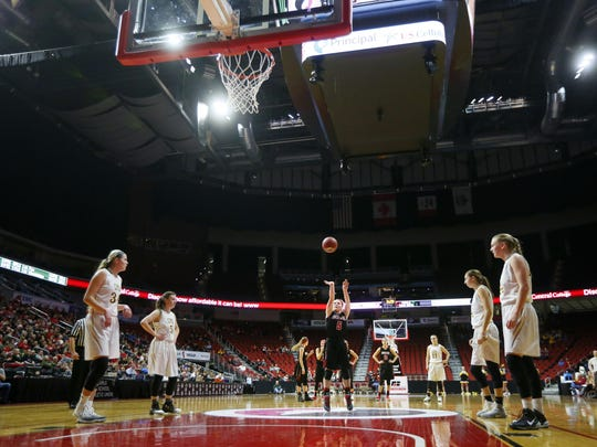 Pocahontas Area's Elle Ruffridge puts up a free throw to break the state tournament single-game scoring record during Thursday's 80-59 Class 3A semifinal win over Center Point-Urbana. Ruffridge had 48 points in the game.
