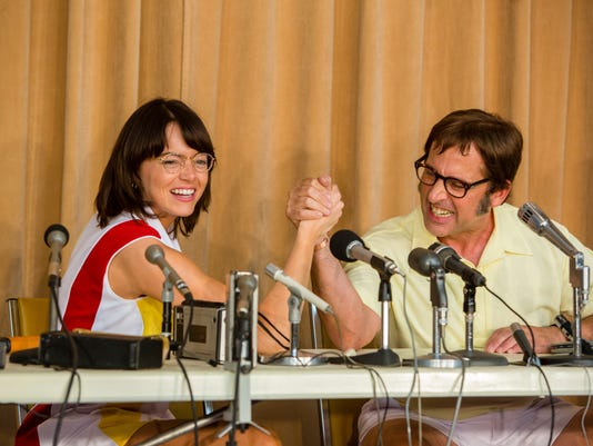 "FILE - This image released by Fox Searchlight Pictures shows Emma Stone, left, and Steve Carell in a scene from ""Battle of the Sexes."" The story of the early days of the tour and King's fight for equal prize money is chronicled in the movie, which opened nationwide on Friday.  (Melinda Sue Gordon/Fox Searchlight Pictures via AP, File)"