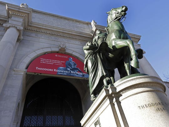 Sysonby's remains are currently located in the American Museum of Natural History, the entrance of which is shown here fronted by a statue of Theodore Roosevelt on a horse of his own.