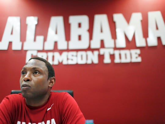 Alabama basketball coach Avery Johnson speaks during an interview, Monday, Oct. 30, 2017, in Tuscaloosa, Ala. (AP Photo/Brynn Anderson)
