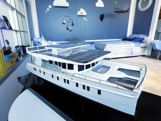 A model of the 74-foot Neiman Marcus Serenity Solar