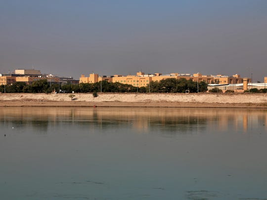 The U.S. Embassy is seen across the Tigris River in Baghdad, Iraq. Iraq's military says two rockets hit Baghdad's heavily fortified Green Zone, the seat of the government and home to the U.S. Embassy.