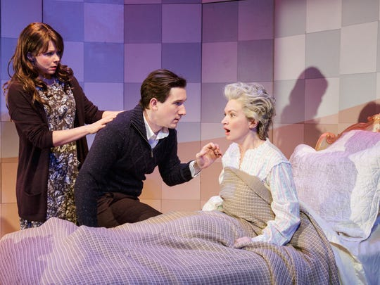 """Liv Rooth (left), Carson Elrod and Kelly Hutchinson star in """"Life Signs,"""" one of the six one-act plays featured in """"Lives of the Saints"""" by David Ives."""