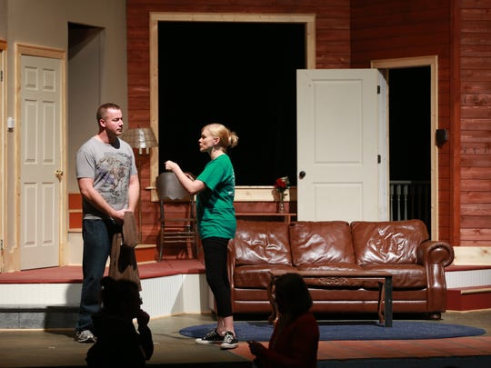 """Megan Schettler Schug will play Carol in """"Girl's Weekend"""" starting Friday at The Des Moines Playhouse. Here she performs opposite Gabe Thompson in a rehearsal."""