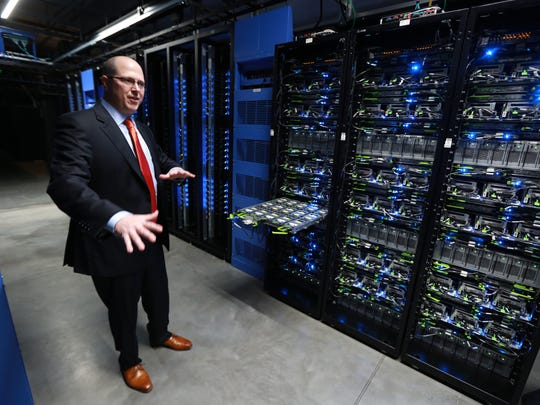 Brice Towns, manager of the Facebook data center in Altoona, speaks during a tour of the new Facebook data centers on Friday, Nov. 14, 2014.
