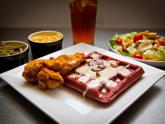 Fried chicken with a red velvet waffle, salad, green beans and mac and cheese, all from Patton's.