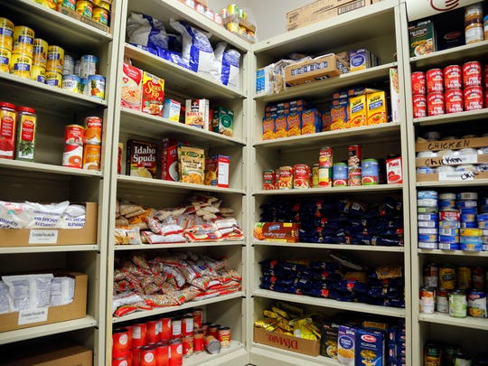 The food pantry for students at Scavo high school Monday, March 9, 2015.