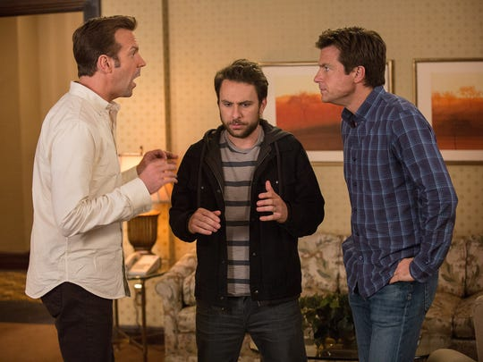 """In this image released by Warner Bros. Pictures, Jason Sudeikis, from left, Charlie Day, and Jason Bateman appear in a scene from """"Horrible Bosses 2."""""""