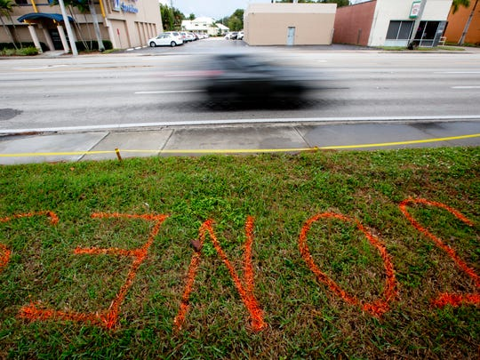 Names and reserved spaces on Fort Myers sidewalks are starting to show up in anticipation of the Edison Festival of Light Grand Parade.