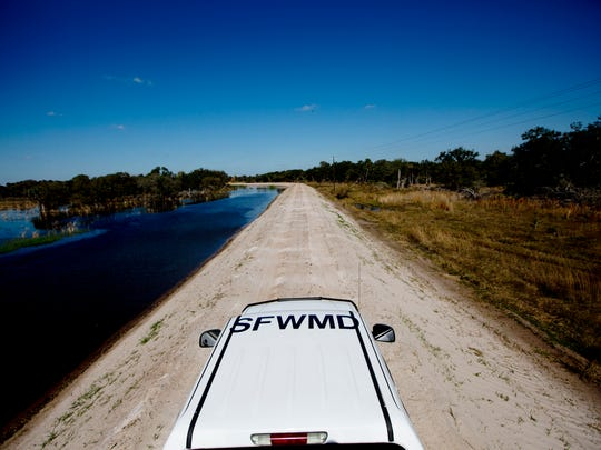 Water pumped in from Lake Okeechobee fills the Nicodemus Slough in Glades County.