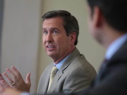 Assemblyman Brian Nestande answers questions from the Desert Sun Editorial Board on Wednesday, October 8, 2014 in Palm Springs.