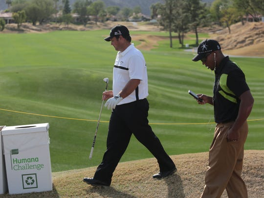 Human Challenge defending champion Patrick Reed, left, on 18 on the Nicklaus Private Course during a practive practice round before this years Humana Challenge on Tuesday, January 20, 2015 at PGA West in La Quinta.