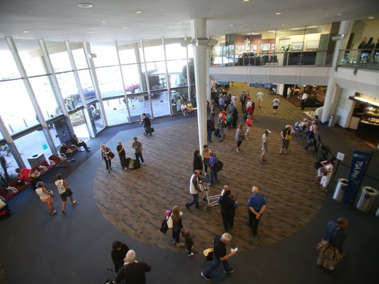 The main entrance to Palm Springs International Airport was filled with people Wednesday.