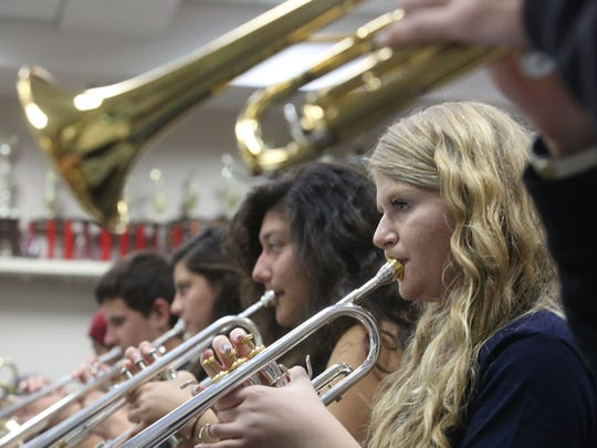 La Quinta High School Band student Caroline Wilmovsky participates in Wednesday's rehearsal.