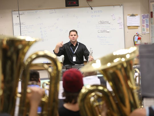 La Quinta High School Band instructor Michael Fleischmann perfects the show that the wind symphony will perform on March 30 at Carnegie Hall.