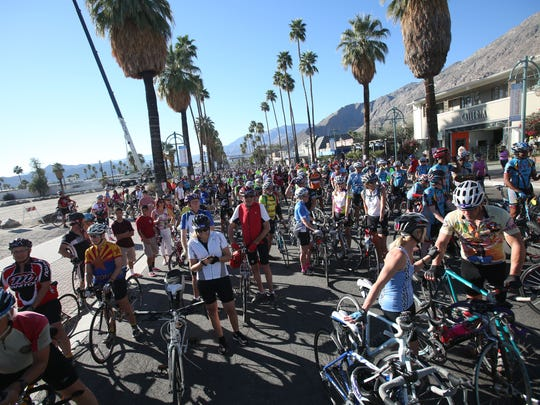 Participants of the 2015 Tour de Palm Springs get ready to start the 50-mile portion of the event.