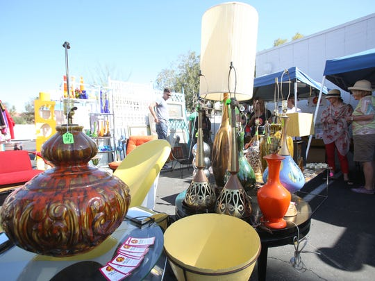 Lamps and other objects went on sale at the Modernism Yard Sale held in Palm Springs on Sunday.