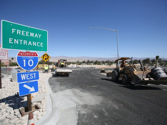 Crews on Wednesday worked on the westbound Monterey Avenue on-ramp to Interstate 10.