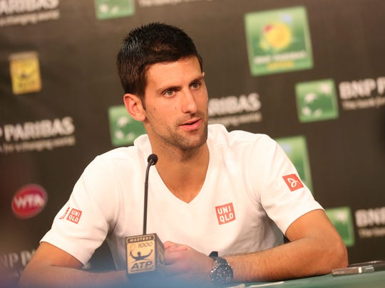 Novak Djokovic answers questions during a press conference at the 2015 BNP Paribas Open at Indian Wells on March 12, 2015.