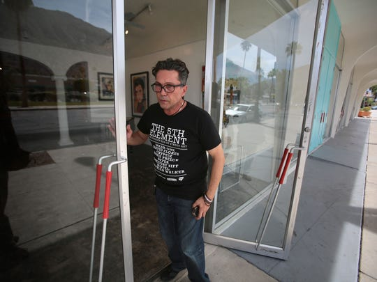 Dimitri Halides, the owner of Gallery 446 in Palm Springs, had just put in a large art installation by Palm Springs artist Kenny Irwin Jr. but he and other tenants of the business complex his gallery is at might be evicted by the Indian owners of the land. Photo taken on Tuesday.