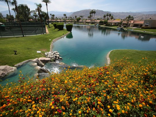 The 238-home community of Lake Mirage in Rancho Mirage features 19 acres of lakes and also has 11 pools and spas.