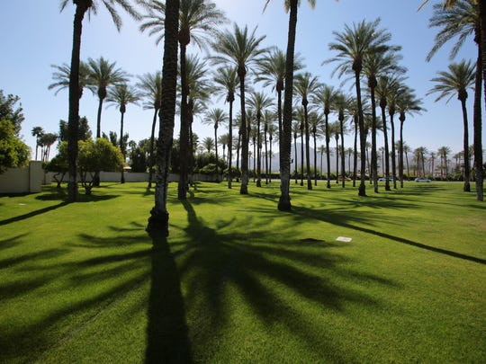 A large green space on the corner of Cook St. and HWY 111 in Indian Wells on Thursday. The city of Indian Wells uses recycled water to irrigate medians and other grassy areas.