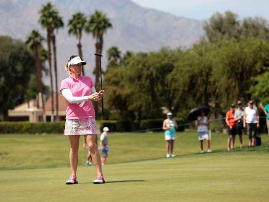Morgan Pressel putts on 10 during the 2nd round of the ANA Inspiration at Mission Hills Country Club in Rancho Mirage on Friday.