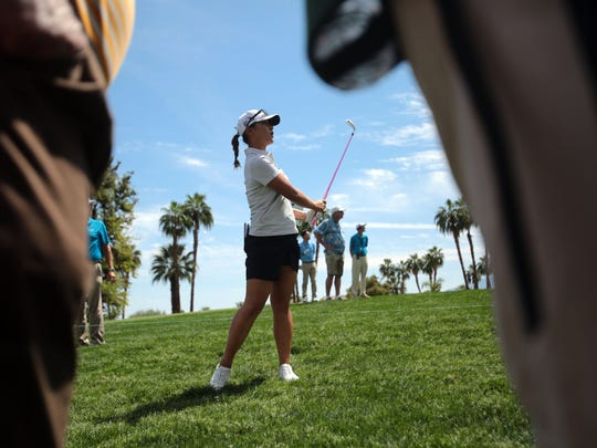 New Zealand's Lydia Ko hits out of the rough on 1 during the 2nd round of the ANA Inspiration at Mission Hills Country Club in Rancho Mirage on Friday.
