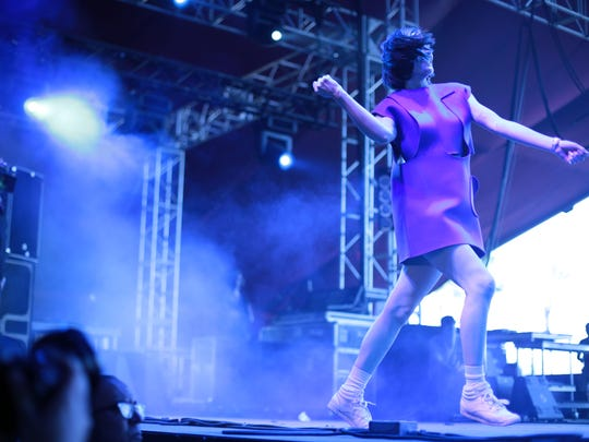 Yelle performs on the second Saturday at the Coachella Valley Music and Arts Festival in Indio.