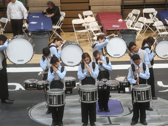 """Palm Desert Middle School participates in the 14th Annual """"Brigade Blast"""" on Saturday, April 25, 2015 at the La Quinta High School Gym. The 2015 Brigade Blast fundraiser featured bands from Cathedral High School, Palm Desert High School, Shadow Hills High School and the La Quinta High School."""